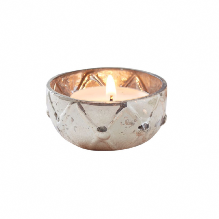 Gold Checked Mercury Glass Tea Light Holder